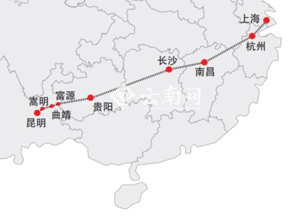 沪昆客专,东起上海,西至昆明,途经上海,杭州,南昌,长沙,贵阳,昆明