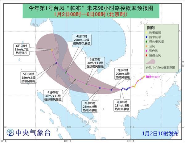 """展望,""""帕布""""将以每幼时15公里旁边的速度向偏西倾向移行,强度逐渐强化;3日以后,""""帕布""""将转向西北倾向移行,并趋向马来半岛北部沿海。"""