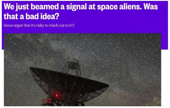 2017年11月,在挪威特罗姆瑟市东南8英里的一个山谷中,科学家通过雷达天线向潜在的外星听众发送了一小段无线电节目:一些专门编写的电子音乐以及关于几何和二进制数字使用的教程。