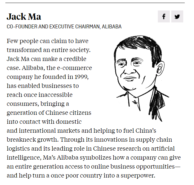 """该杂志认为,马云在1999年创立的电子商务公司阿里巴巴,帮助企业触达原本遥不可及的消费者,让整整一代中国人融入国内和国际市场,为中国飞速的经济发展提供助力, """"真正能改变一个社会的人很少,但马云是其中之一""""。"""