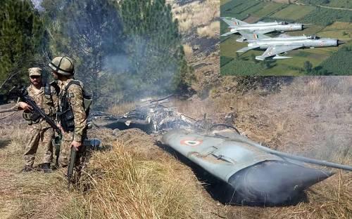 被巴基斯坦空军击落的印军米格-21战机残骸
