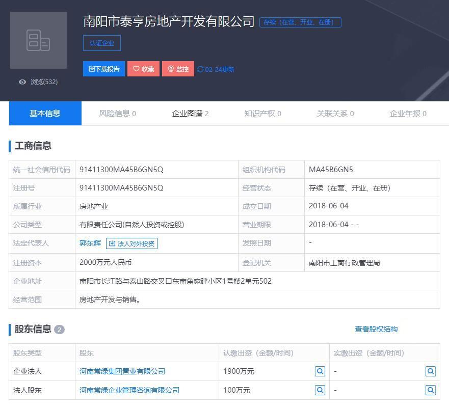 南阳市泰亨房地产开发有限公司的企业信息