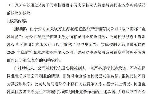 """议案称,隐约道然的限制权已发生迁移,上海隐约投资(集团)有限公司(简称""""隐约集团"""")不再为其控股股东,公司与隐约道然不存在同。业竞争有关。"""