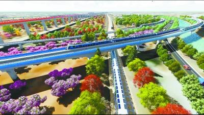 新机场线与新机场高速、京雄高铁形成的共走绿廊,将打造三季有花、四季常绿的特色景观。(效果图)市重大项目办供图