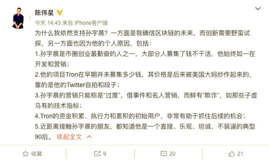陈伟星力挺孙宇晨:创新需野蛮试探,他只是营销过度、鲜有欺诈