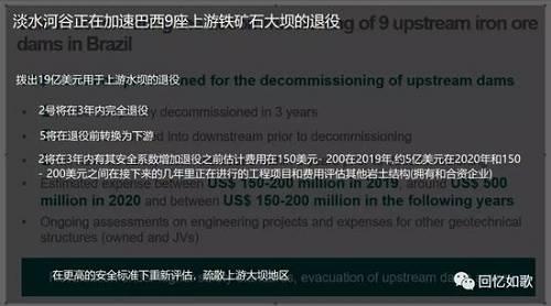 有业内人士表示,这9个尾矿坝在年初停产,对市场应无影响。vale官方没有新消息。