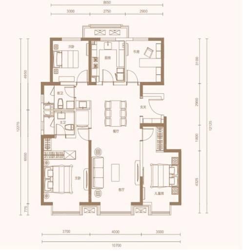 135㎡四室两厅两卫户型图