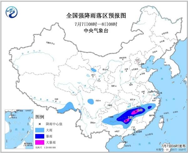 暴雨黄色预警 湖南江西广西局地将有大暴雨