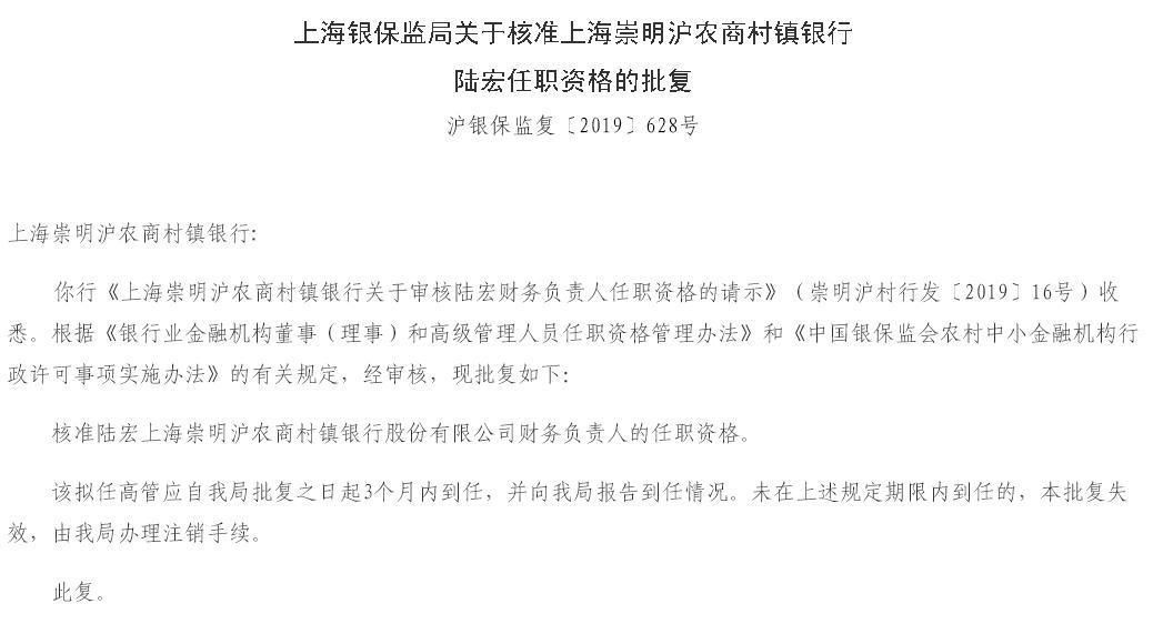 上海崇明沪农商村镇银行财务负责人陆宏任职资格获批