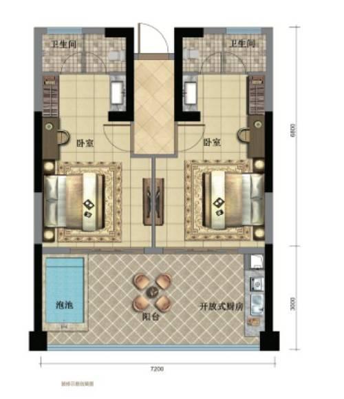 72 m2双钥匙户型 | 2室2厅1阳台1泡池
