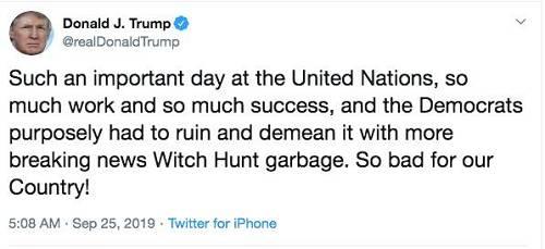 """特朗普说:""""在说相符国这么主要的镇日,这样之多的做事和收获,民主党人有意用政治戕害的垃圾消息来搞损坏,这对吾们国家而言太凶劣了。""""/推特截图"""