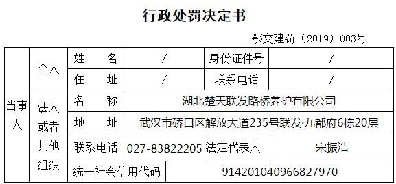 A档案|中铁工业全资孙公司与湖北当地路桥公司相互串通投标被交通部门罚款35891元
