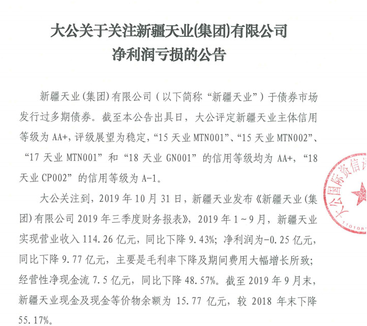 受氯碱行业景气度下滑影响 新疆天业业绩下滑引发评级公司关注