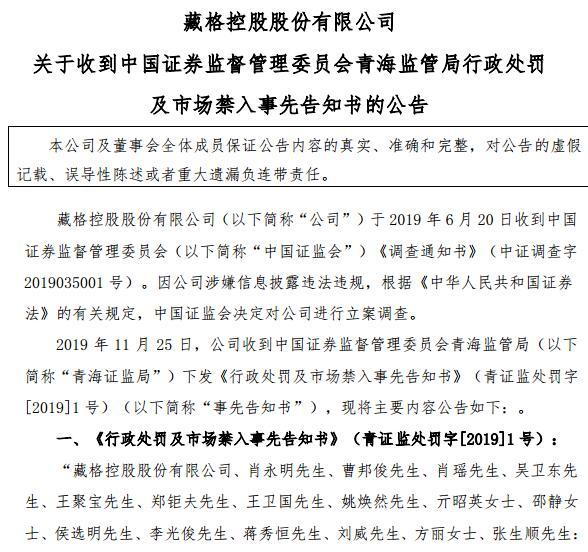 A档案|藏格控股虚增利润超6亿被罚60万,实控人肖永明被罚90万及5年市场禁入