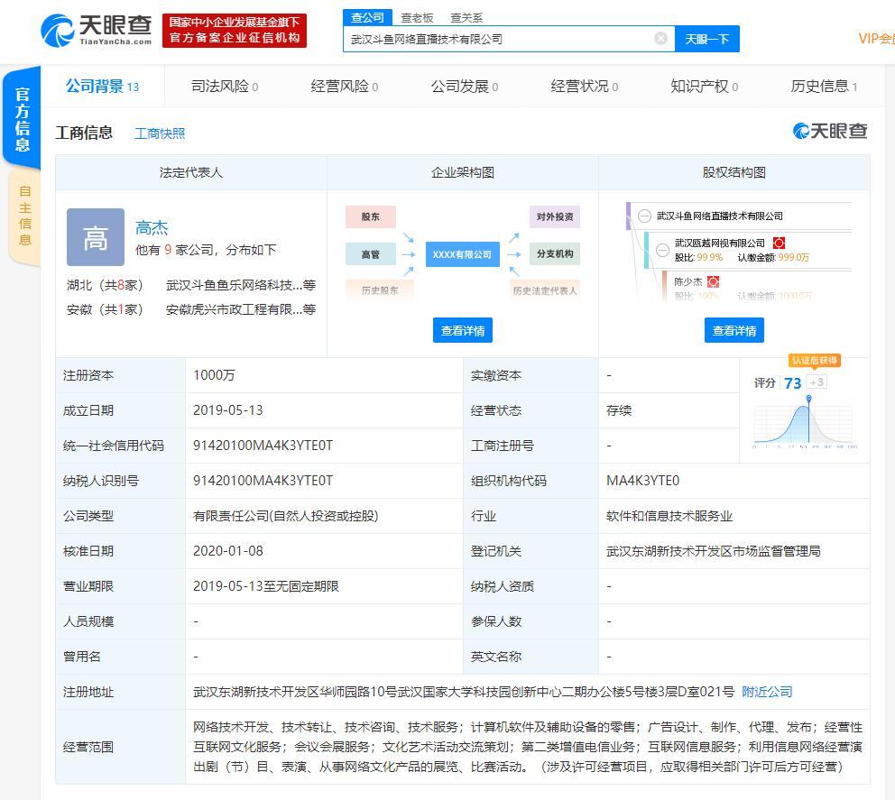 陈少杰卸任斗鱼子公司法定代表人