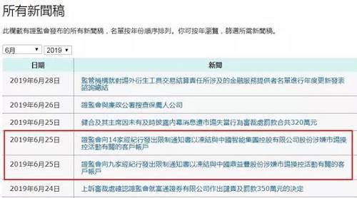 此次收到限制通知书的9家经纪行分别为:中州国际证券有限公司、招银国际证券有限公司、横华国际证券有限公司、佳兆业证券有限公司、新鸿基投资服务有限公司、天元金融有限公司、胜利证券有限公司、越秀证券有限公司及中泰国际证券有限公司。两次合计共有17家经纪行因为中国鼎益丰而接到限制通知书。