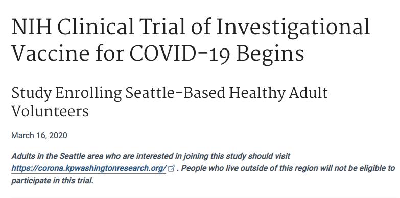 美国针对新冠病毒的疫苗在西雅图开始首次临床试验