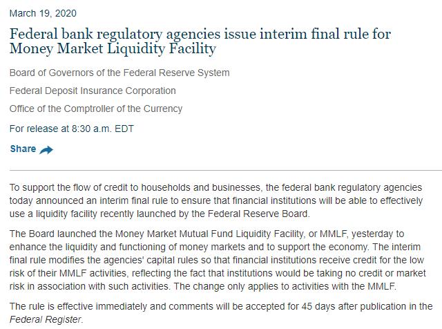 """刚刚推出的货币市场共同基金流动性工具(The Money Market Mutual Fund Liquidity Facility/MMLF),堪称美版""""麻辣粉""""。该工具将对金融机构提供长达一年期贷款。美联储实质上是鼓励银行业者从这些共同基金购买资产,避免这些基金在面临家庭或企业的取款需求时折价出售资产。"""
