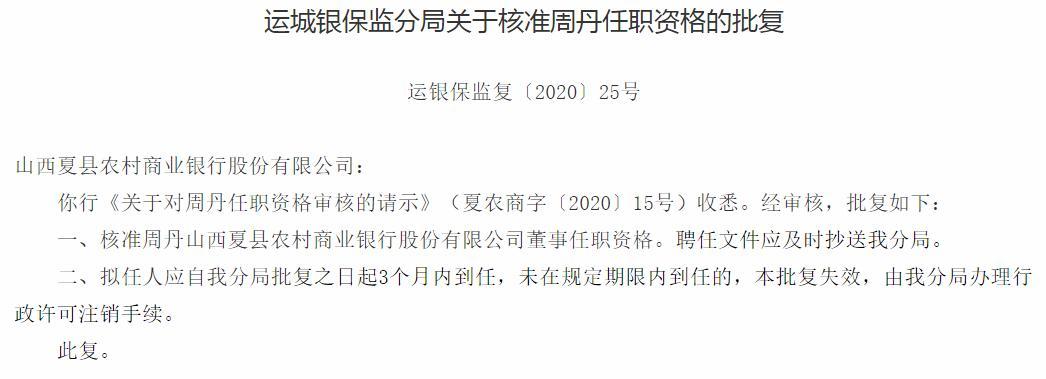 山西夏县农商银行3位董事任职资格获批 谢鹏兼任副行长