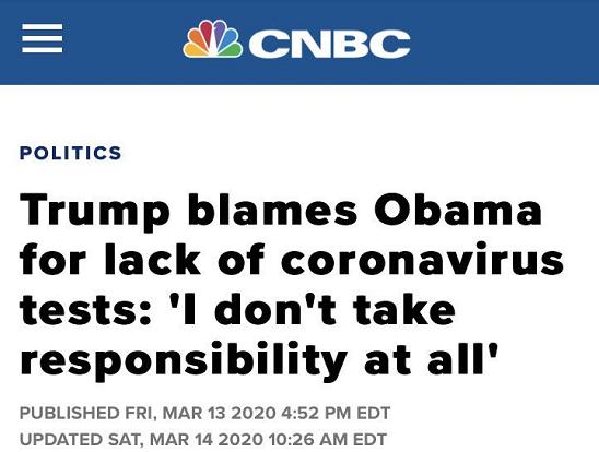 """将疫情牵连政治之后,除了把""""锅""""甩给国外,特朗普对内也毫不手柔。据CNBC3月24日报道,在美国新冠肺热最先大周围通走后,美国总统特朗普最先频频甩锅给前任总统奥巴马,并称本身对新冠疫情的暴发""""不负任何义务""""。"""
