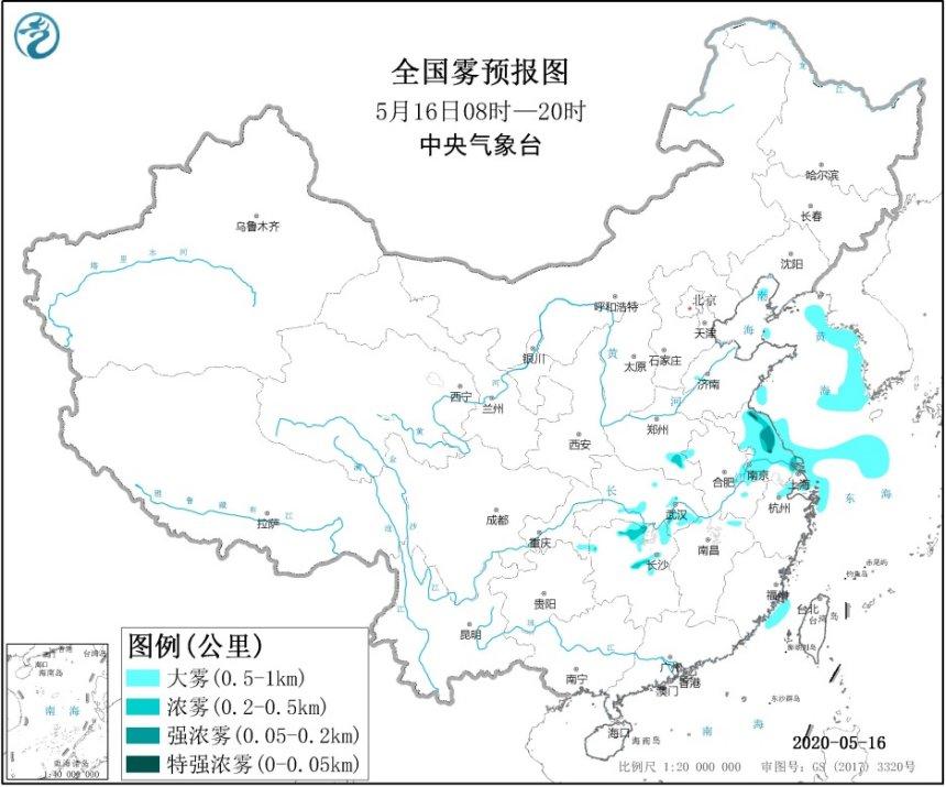 大雾预警!江苏上海湖北湖南等地的部分地区有大雾