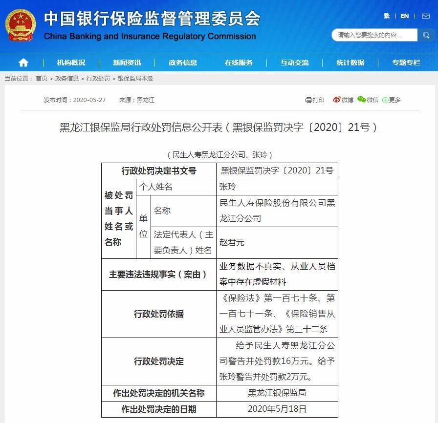 民生人寿黑龙江分公司业务数据不真实 合计被罚18万元