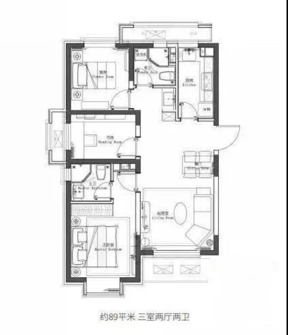 89�O3室2厅2卫户型图