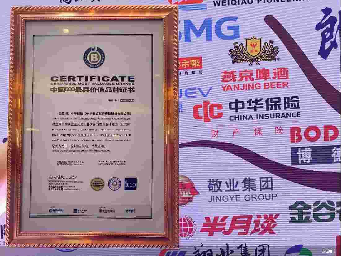 """中华财险荣获2020年 """"中国500最具价值品牌""""奖"""