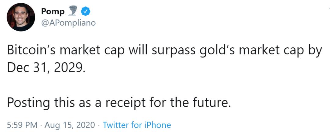 摩根溪联合创始人:比特币的市值将在十年内超过黄金