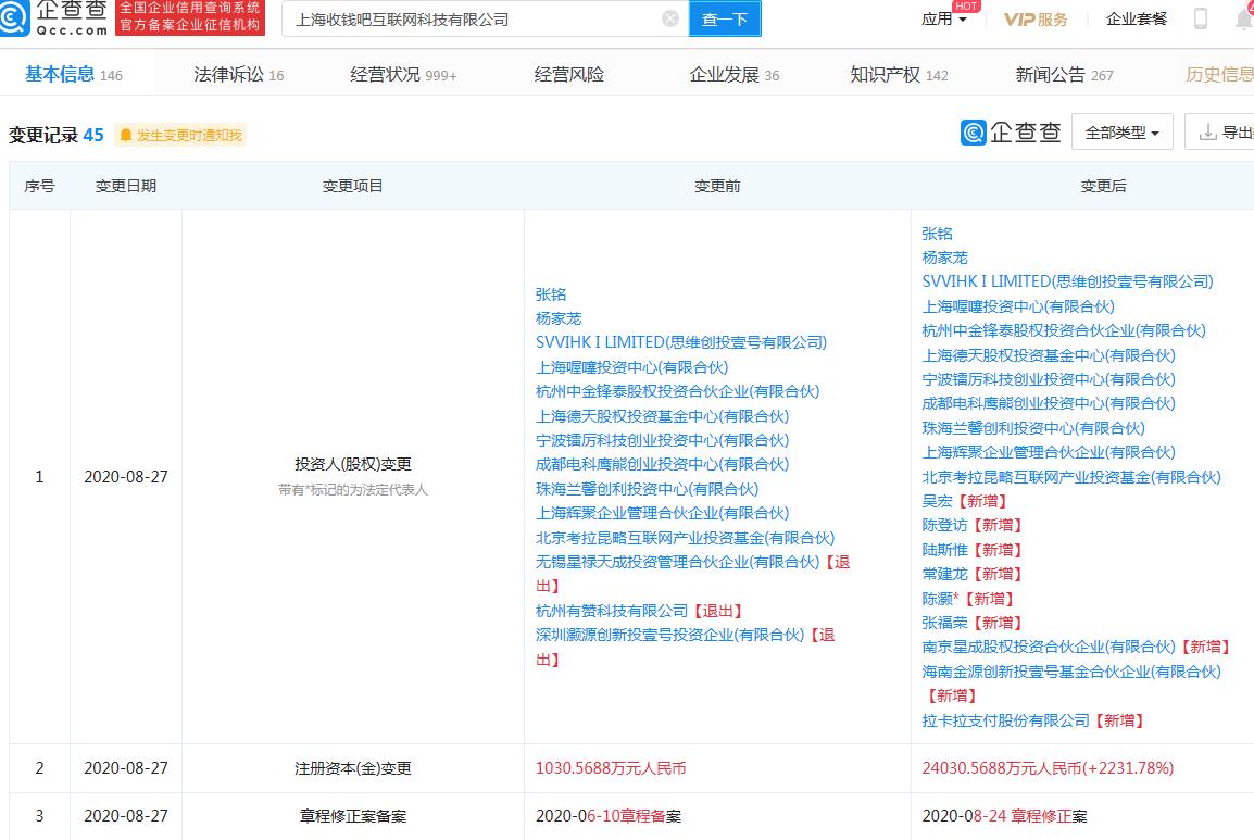 收钱吧关联公司注册资本增至2.4亿,增幅2231.78%