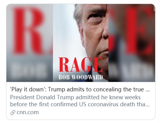 """水门事件记者曝猛料:特朗普年初就知道新冠病毒""""致命"""""""