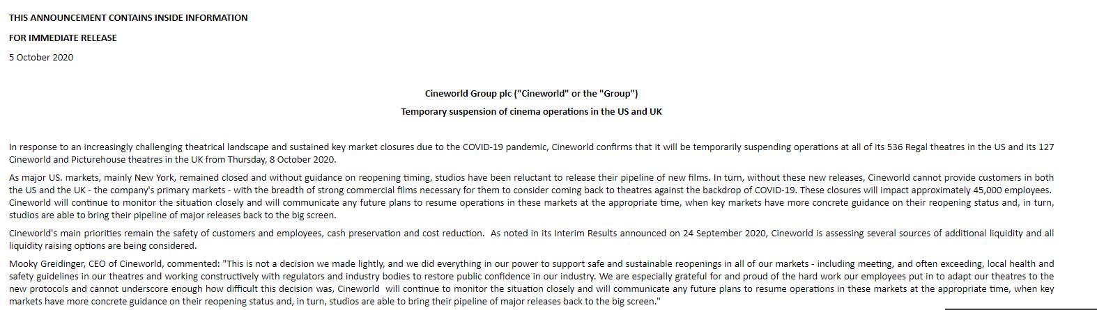全球第二大院线将暂时关闭美英所有电影院 或导致4.5万人失业