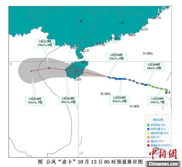 """台风""""浪卡""""逼近海南岛 陆海空交通均已开始受影响"""