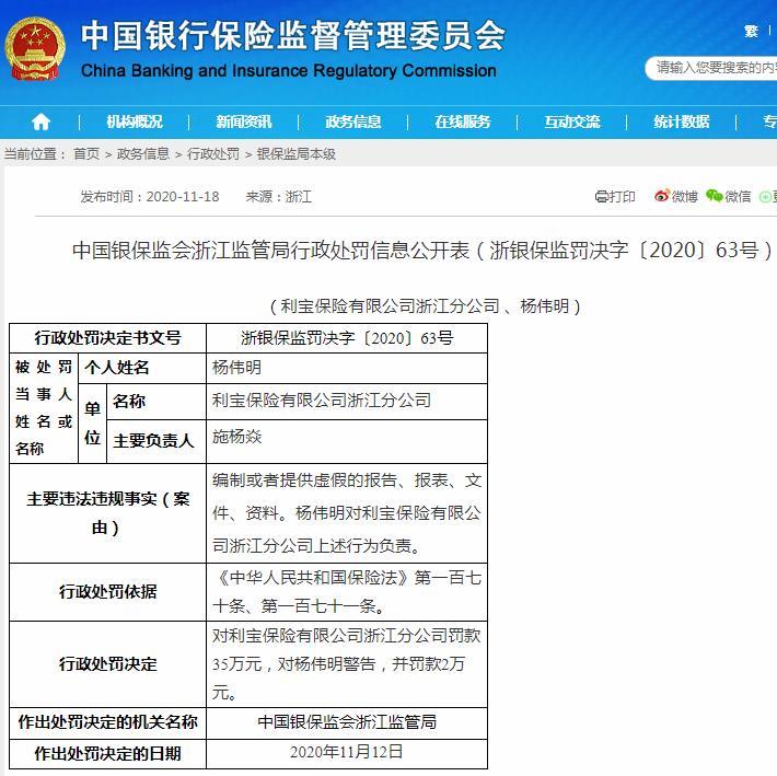 利宝保险浙江分公司收37万元罚单:编制或者提供虚假的报告