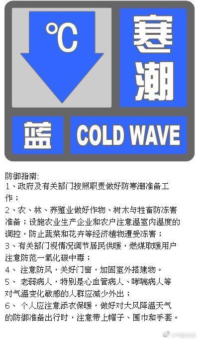 北京发布寒潮蓝色预警:最低气温下降8℃以上