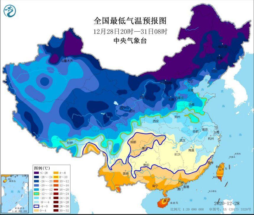 寒潮橙色预警继续发布:中东部大部气温将下降10℃左右