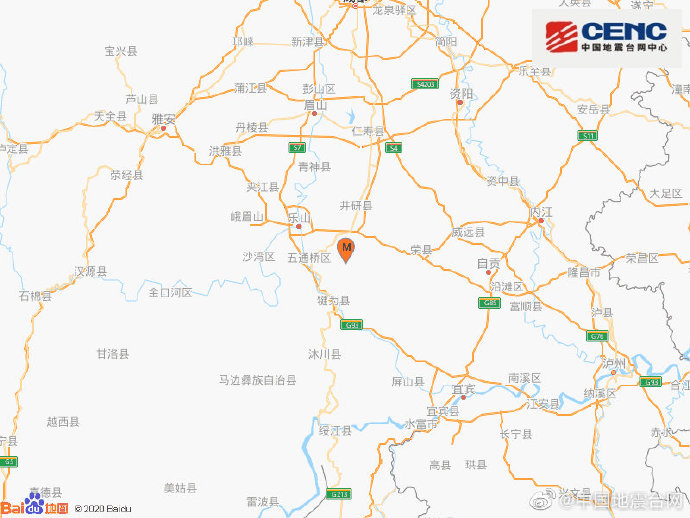 四川乐山市犍为县发生4.2级地震 震源深度13千米