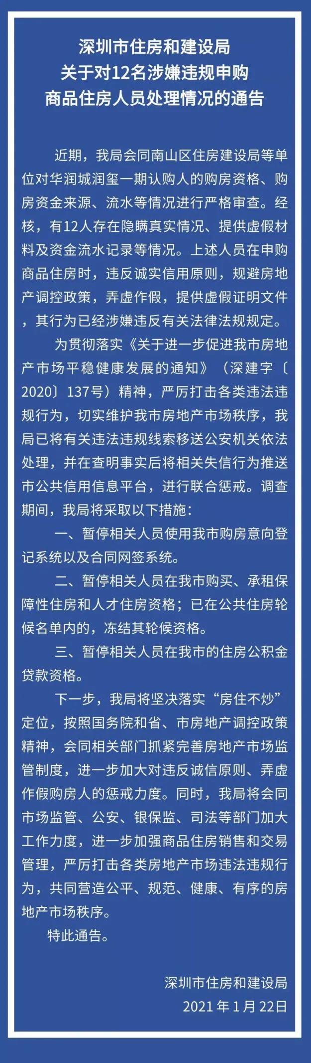 """取消买房资格!12人作假买润玺一期,被深圳""""禁买""""!楼市打新空子被封堵"""