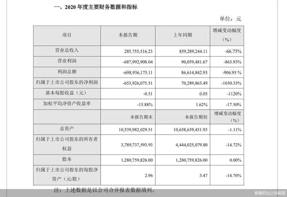 紫鑫药业2020年亏损6.54亿元 债务缠身举债度日