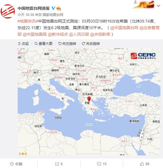 希腊发生6.2级地震:有房屋墙壁倒塌