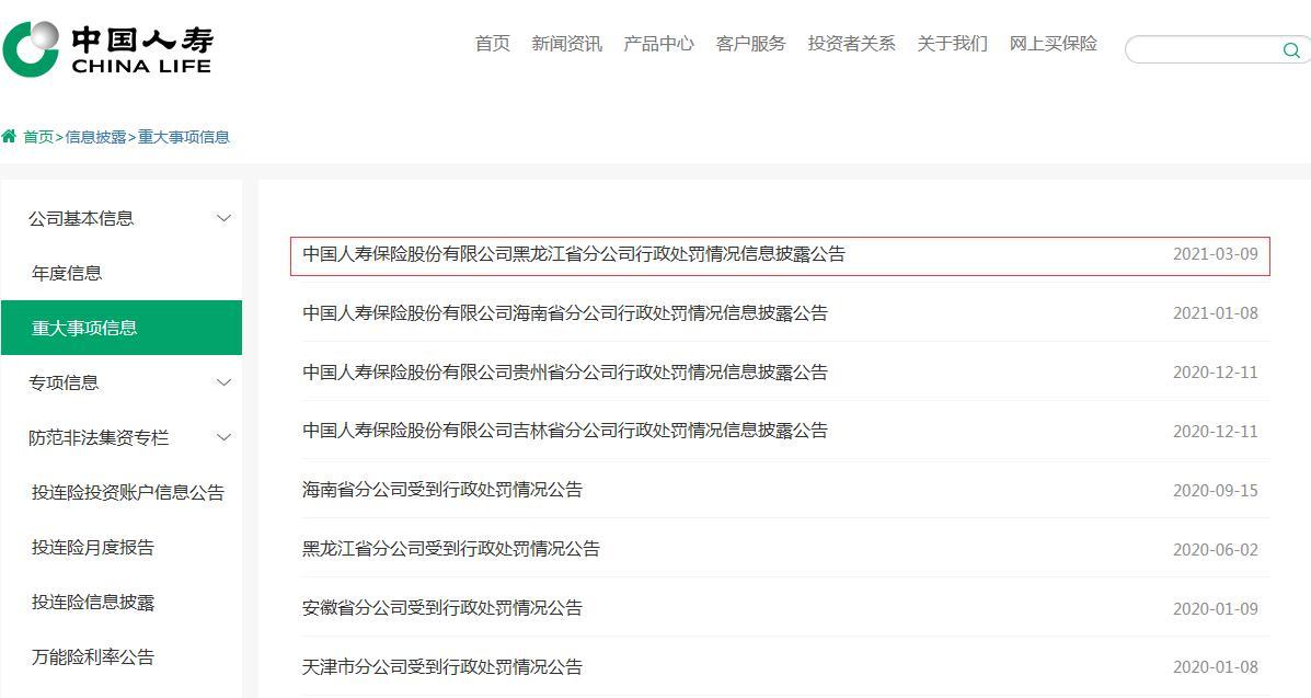 内控机制不健全 中国人寿分公司被罚51万元