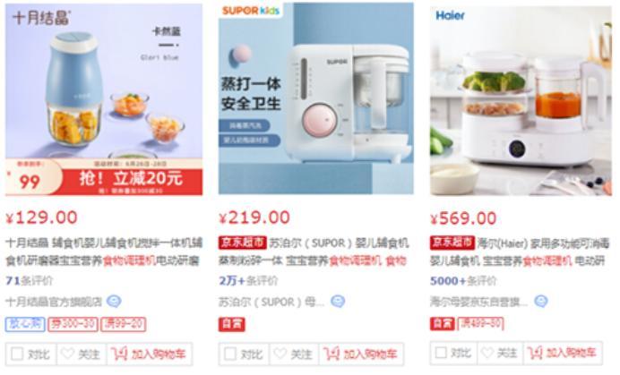 目前电商平台在售的迷你型、单杯型、双杯型辅食机产品