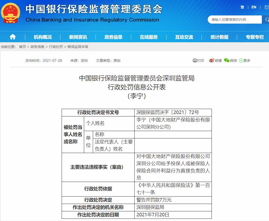 给予投保人或被保险人保险合同外利益 大地财险深圳分公司被罚21万