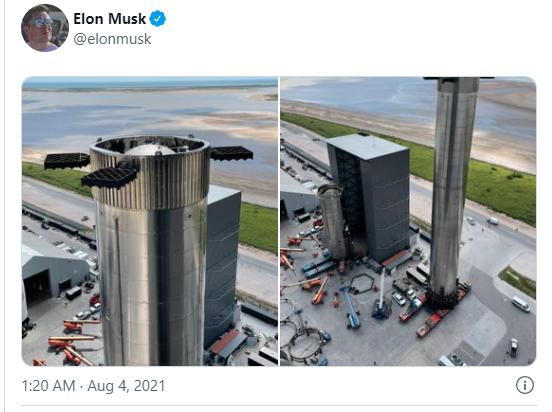 马斯克发推晒SpaceX超重型火箭助推器