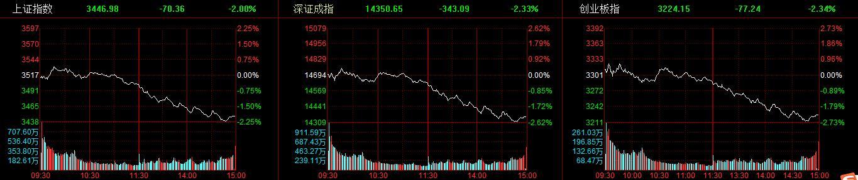 3800股飘绿!A股三大指数均大跌2%,白酒股领跌