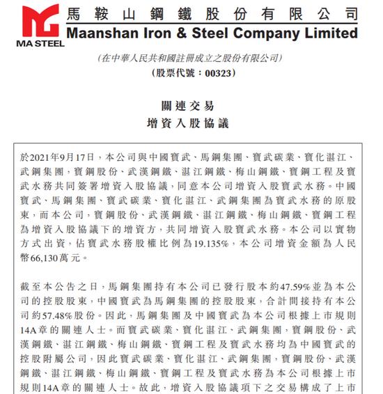 马鞍山钢铁:公司出资6.6亿元入股宝武水务 持股占比19.135%