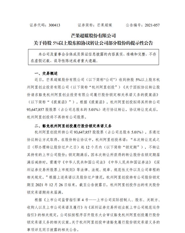 芒果超媒:杭州阿里创投拟协议转让所持5.01%股份