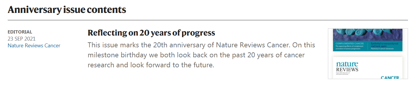 CULLGEN联合创始人的靶向蛋白降解文章将发表在自然癌症综述20周年纪念特刊